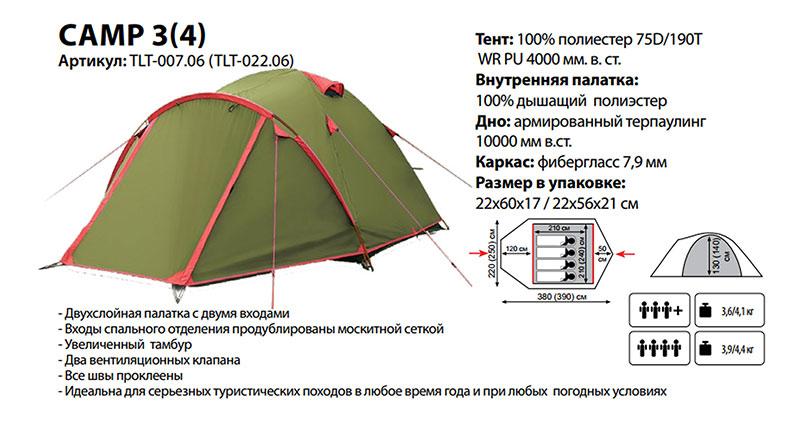 Палатка Lite Camp 4 (1/4) Tramp