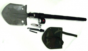 Лопата туристическая (NK-BG154) с фонарем SWAT