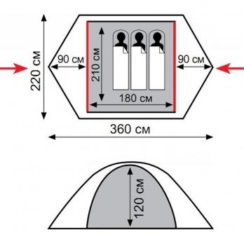 Палатка Sirius 3 v 2 (TRT-57) TRAMP