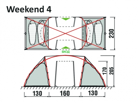Палатка Weekend 2+2 GreenLand