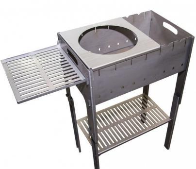 Мангал разборный со столиком и подставкой под казан Тонар (2мм, сумка)