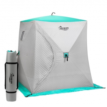 Палатка зимняя Куб Комфорт утепленная 1,5х1,5 biruza/gray PREMIER (PR-ISCC-150BG)