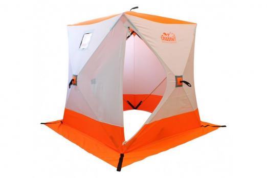 Палатка зимняя КУБ Следопыт 1,8*1,8м oxford 210D PU1000 3-местн. бело-оранж.11