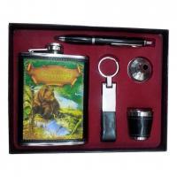 Набор подарочный (фляжка 210мл + ручка + стопка + брелок) Helios